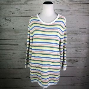 Talbots Rainbow Striped 3/4 Sleeve Sweater Sz XL